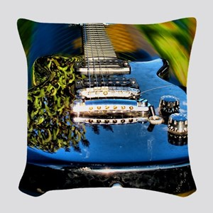 Rocked Out Guitar Woven Throw Pillow
