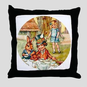 ALICE TEA PARTY_RD Throw Pillow
