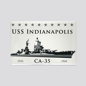 USS Indianapolis Battle Stars Rectangle Magnet