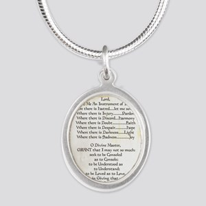 Pope Francis St. Francis SIMP Silver Oval Necklace