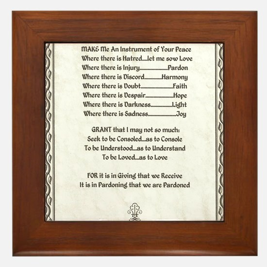 Pope Francis St. Francis SIMPLE PRAYER Framed Tile