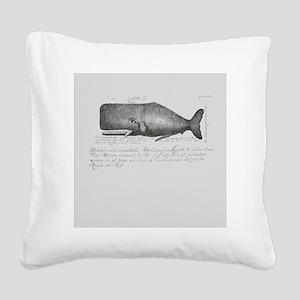 Vintage Whale Shower Curtain Square Canvas Pillow