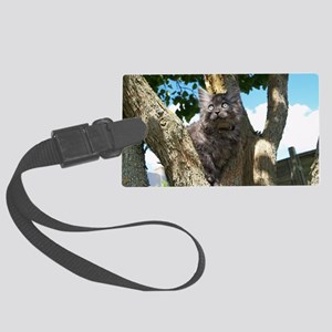 Fluffy Grey Kitten Large Luggage Tag