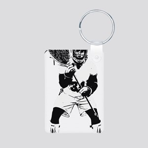 Lacrosse Goalie Behind Eve Aluminum Photo Keychain