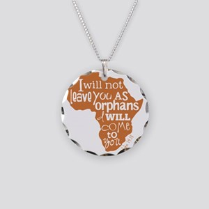 Jn. 14:18 Graphic Necklace Circle Charm