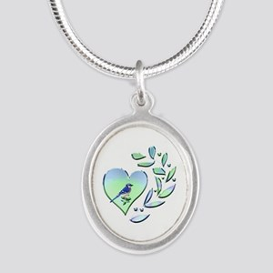 Blue Jay Lover Silver Oval Necklace