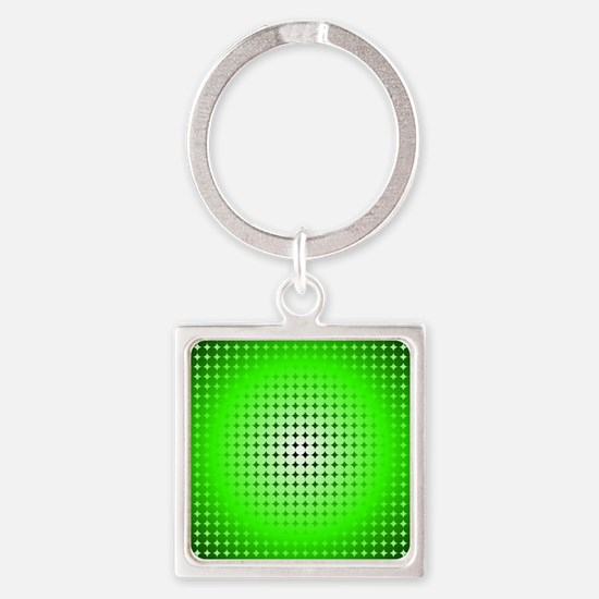 Green Hoop Dots Full Fade Square Keychain