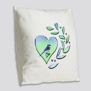 Blue Jay Lover Burlap Throw Pillow
