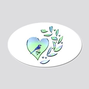 Blue Jay Lover 20x12 Oval Wall Decal