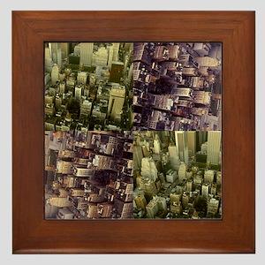 Photo Collage Aerial Manhattan Framed Tile