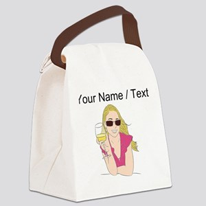 Custom Woman With Wine Canvas Lunch Bag