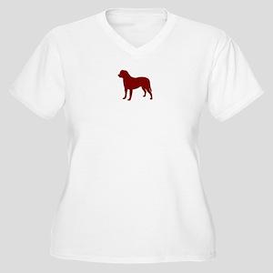 Just Bullmastiff (Red) Women's Plus Size V-Neck T-