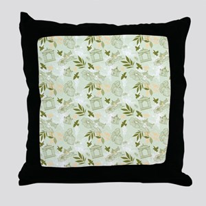 Green Birds with Cages Throw Pillow