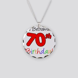 Bestemors 70th Birthday Necklace Circle Charm