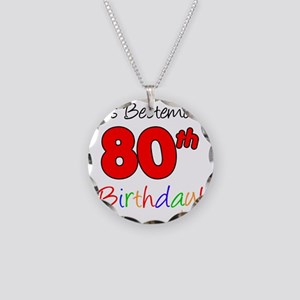 Bestemors 80th Birthday Necklace Circle Charm