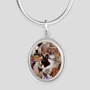 Happy Bunnies Silver Oval Necklace