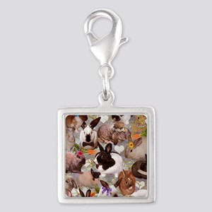 Happy Bunnies Silver Square Charm