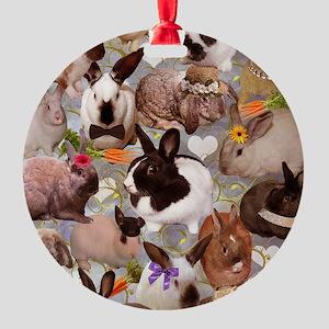 Happy Bunnies Round Ornament