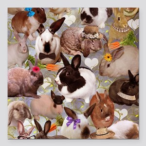 "Happy Bunnies Square Car Magnet 3"" x 3"""