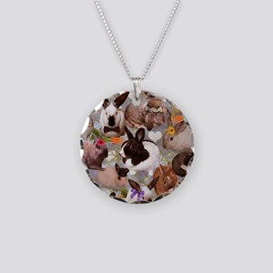 Happy Bunnies Necklace Circle Charm