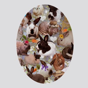 Happy Bunnies Oval Ornament