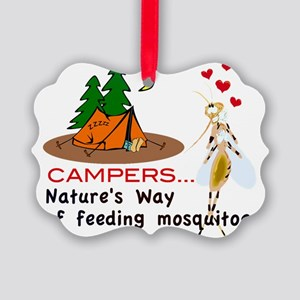 Camping: Campers and Mosquitoes Picture Ornament