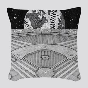 Ballpark Moon Woven Throw Pillow