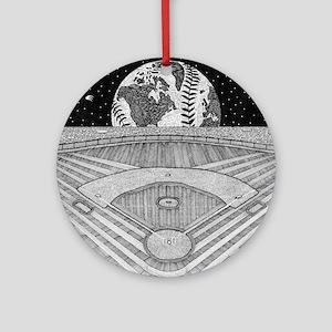 Ballpark Moon Round Ornament