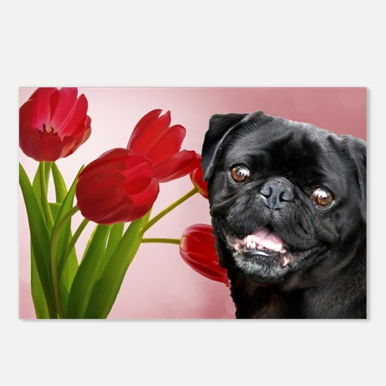 Easter pug Postcards (Package of 8)