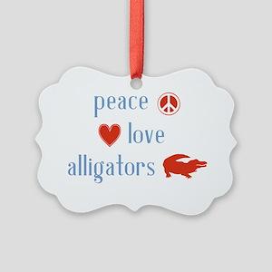 Peace Love Alligators Picture Ornament