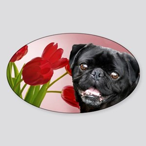 Easter pug Sticker (Oval)