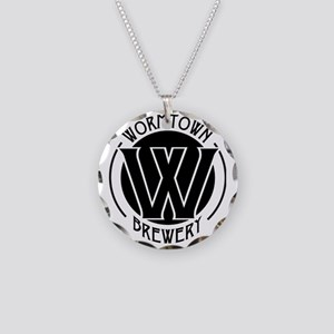 Wormtown_BW_Logo Necklace Circle Charm