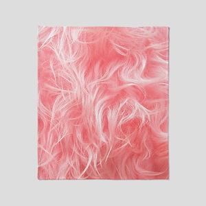 Pink Fake Fur Pattern Throw Blanket