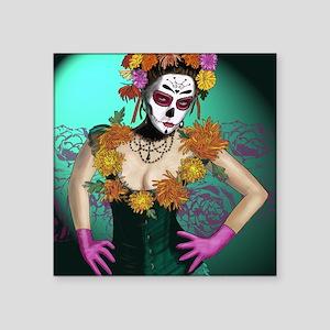 "Flowers - Dia de los Muerto Square Sticker 3"" x 3"""