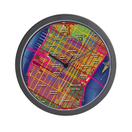 Midtown Manhattan Map Wall Clock