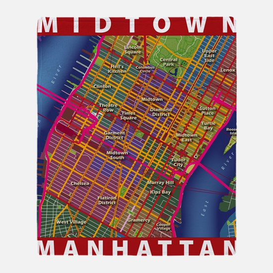 Midtown Manhattan Map Throw Blanket
