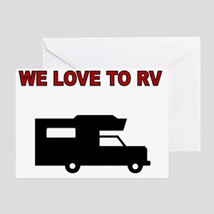 We love to RV-maroon Greeting Card
