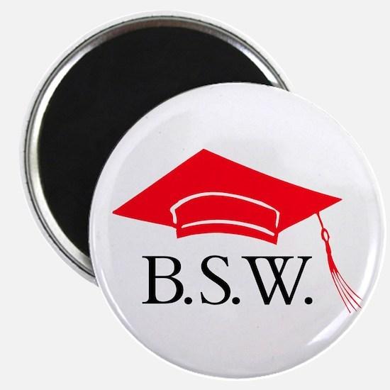 Red BSW Grad Cap Magnet
