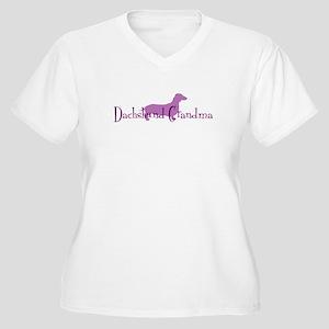 Doxie Grandma Women's Plus Size V-Neck T-Shirt