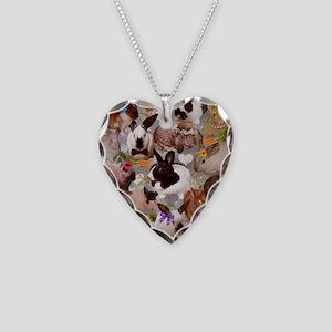 Happy Bunnies Necklace Heart Charm