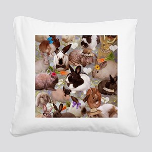 Happy Bunnies Square Canvas Pillow
