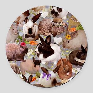 Happy Bunnies Round Car Magnet