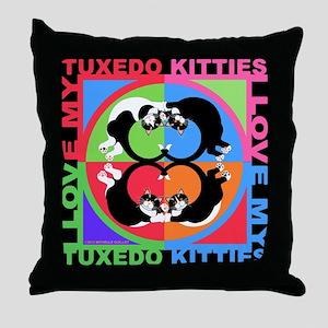 Tuxedo Kitties Cat Graphics Throw Pillow