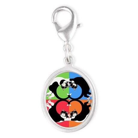 Tuxedo Kitties Cat Graphics Silver Oval Charm