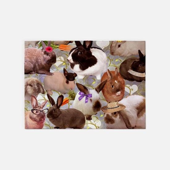 Happy Bunnies 5'x7'Area Rug