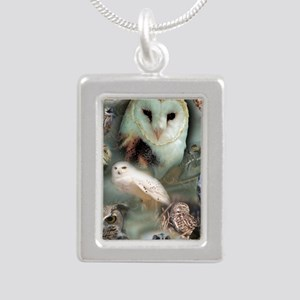 Happy Owls Silver Portrait Necklace