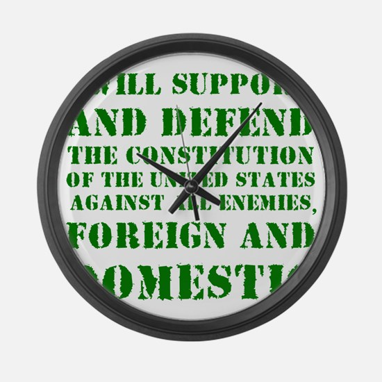 supportanddefendGREEN Large Wall Clock