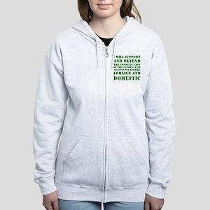 supportanddefendGREEN Women's Zip Hoodie