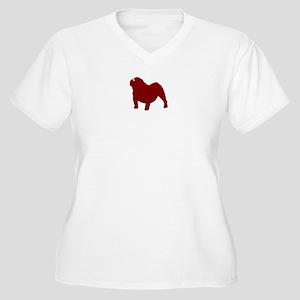Just Bulldog (Red) Women's Plus Size V-Neck T-Shir