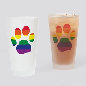 Gay Pride Paw Print Drinking Glass